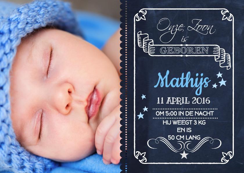 Geboortekaartjes - Geboorte Schoolbord Jongen