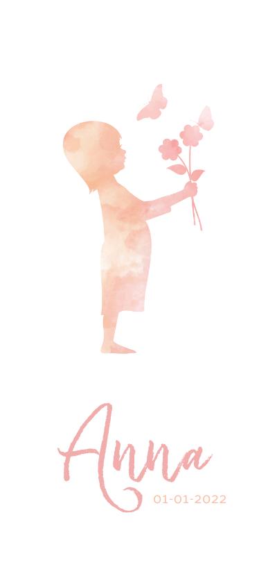 Geboortekaartjes - geboorte silhouet meisje met bloemen