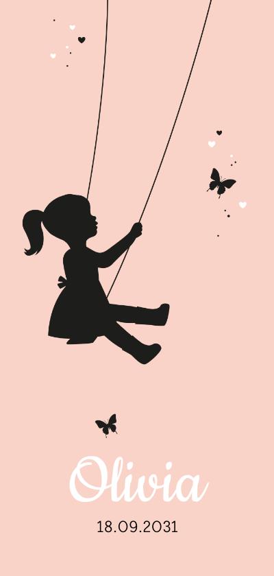 Geboortekaartjes - Geboorte - Silhouet meisje op schommel