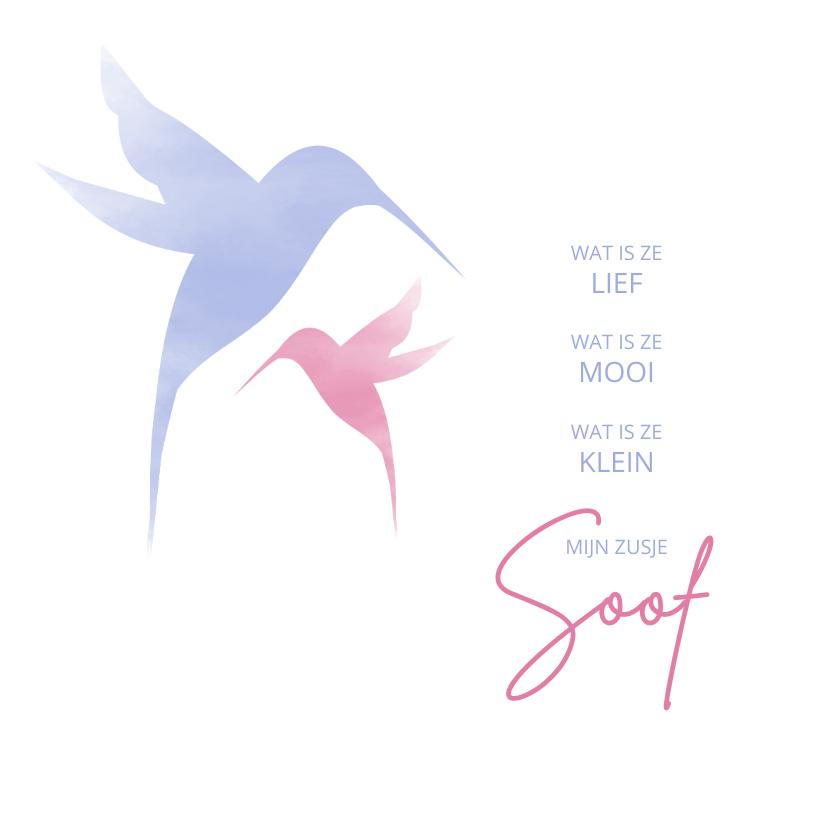 Geboortekaartjes - Geboorte silhouet waterverf kolibrie