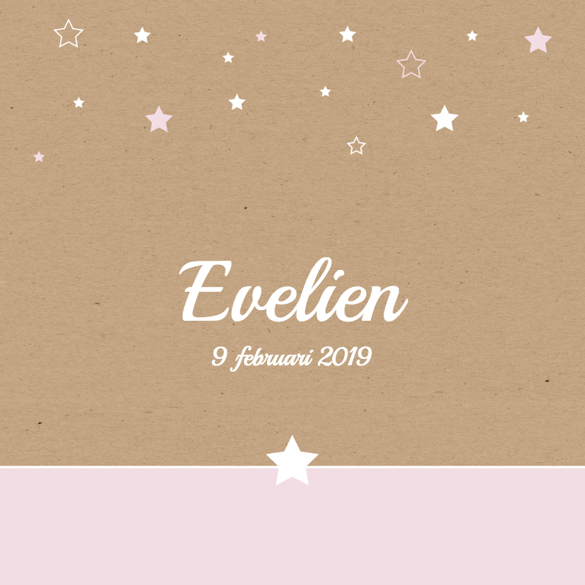 Geboortekaartjes - Geboorte-Sterren, karton, meisje