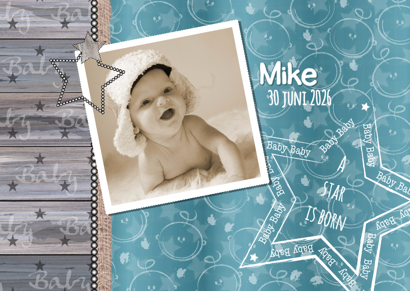 Geboortekaartjes - geboorte stoer hout foto ster HB