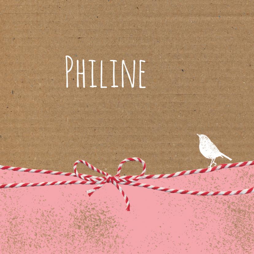 Geboortekaartjes - Geboorte - Strikje karton roze
