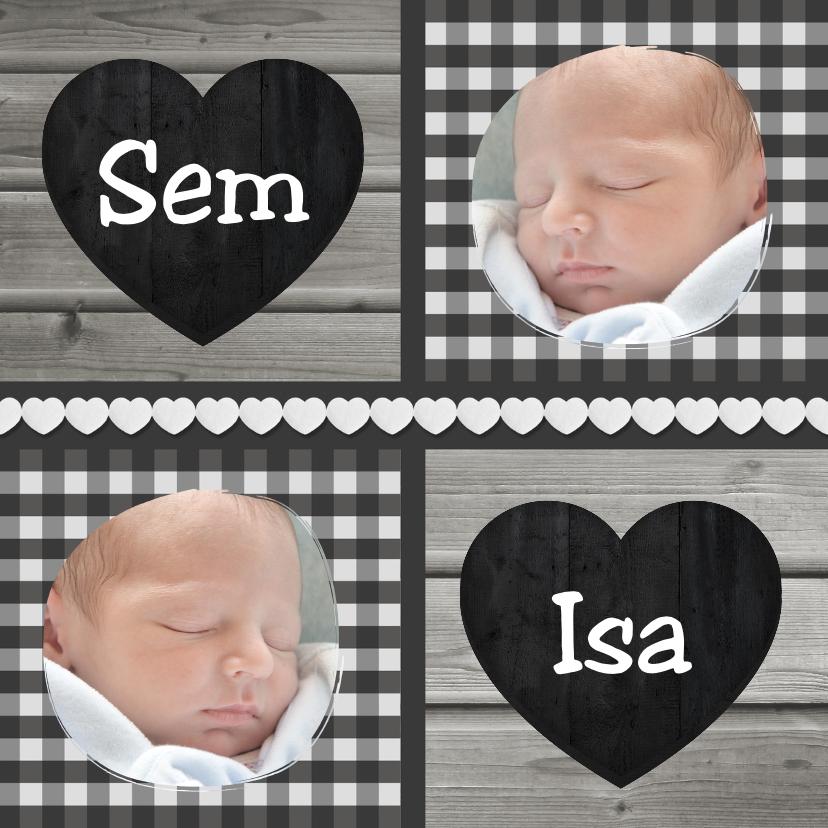 Geboortekaartjes - Geboorte Tweeling Hout Ruit 1LS3