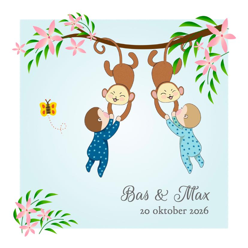 Geboortekaartjes - Geboorte tweeling jongens en aap