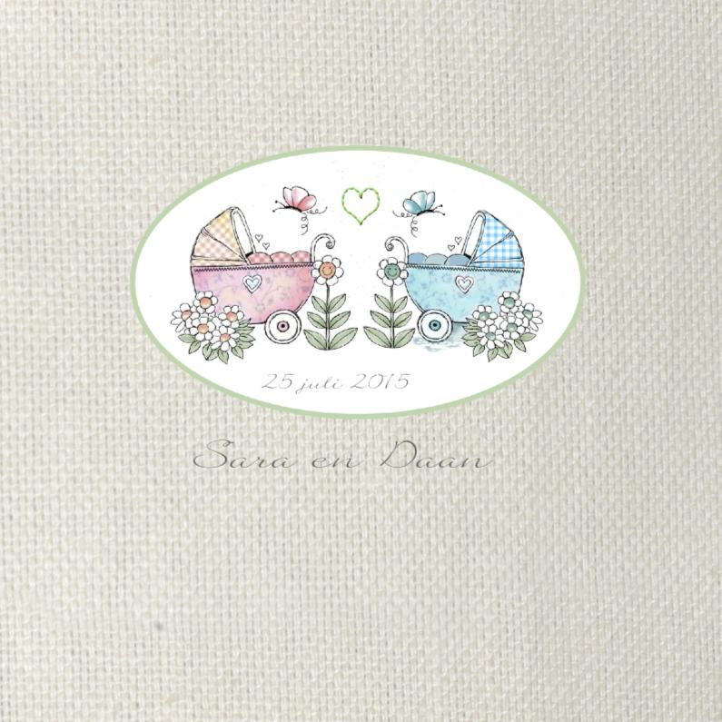Geboortekaartjes - geboorte tweeling meisje jongen wagen