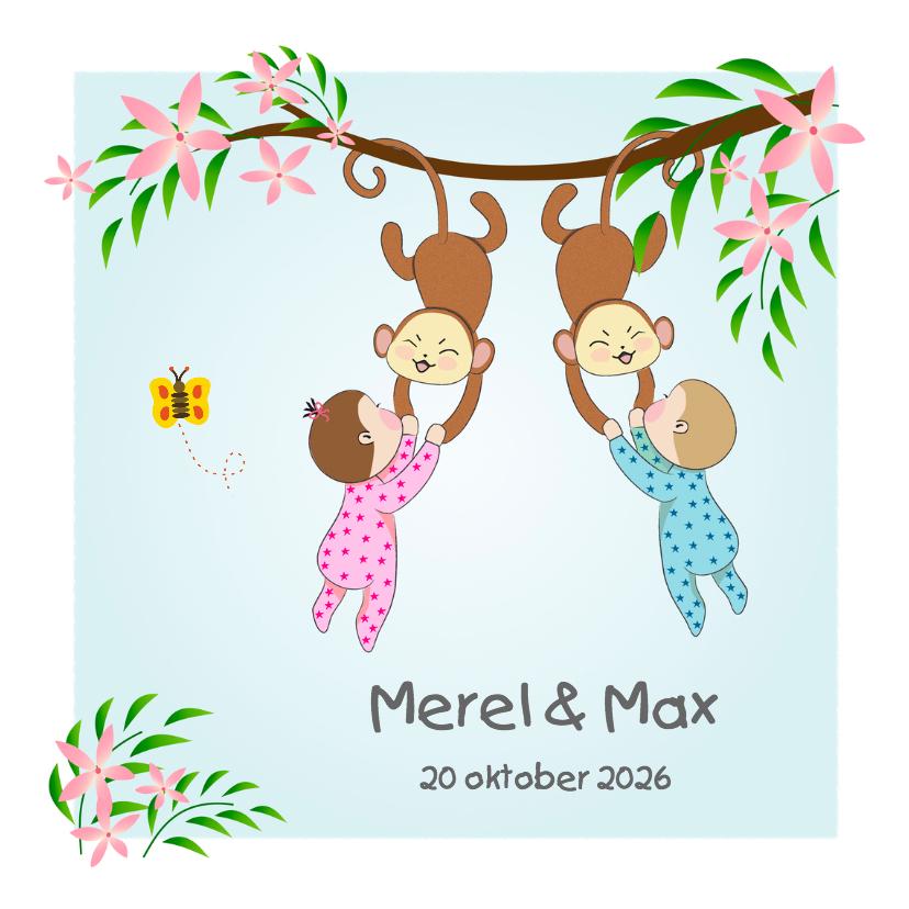 Geboortekaartjes - Geboorte tweeling met aapje