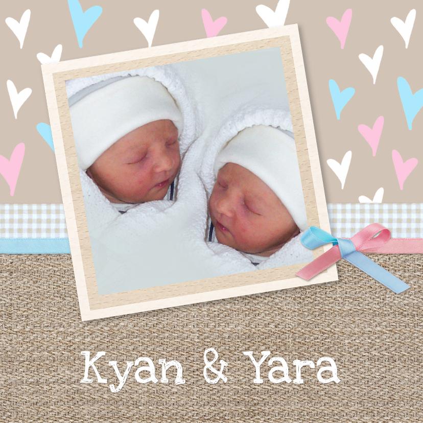 Geboortekaartjes - Geboorte tweeling op jute