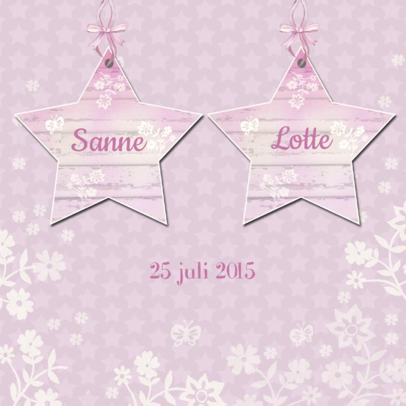 Geboortekaartjes - Geboorte tweeling sterren meisje