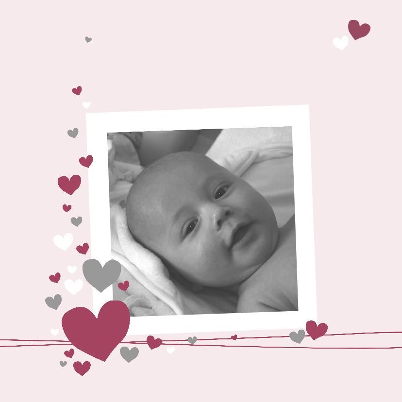 Geboortekaartjes - Geboorte - Veel roze hartjes