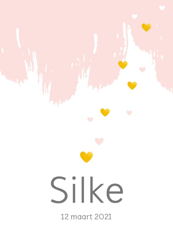 Geboortekaartjes - Geboorte - Vegen verf met hartjes in goudkleur