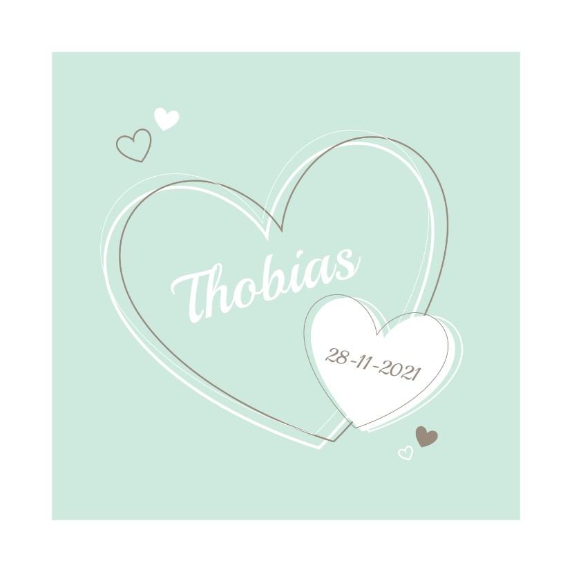 Geboortekaartjes - Geboorte - Vrolijke hartjes mintgroen