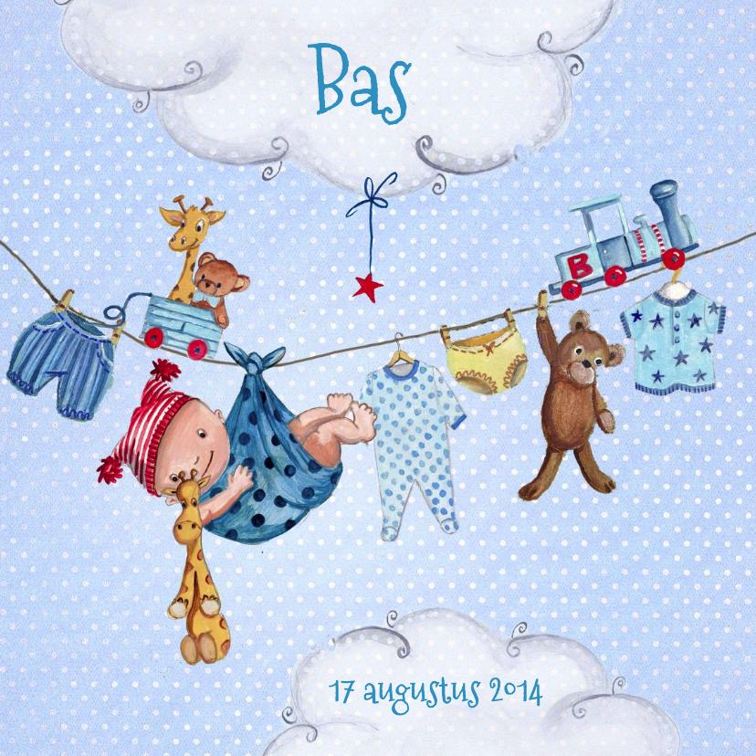 Geboortekaartjes - Geboorte Waslijn Jongen Wolken