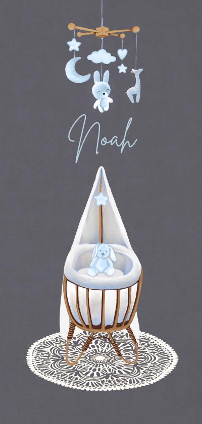 Geboortekaartjes - Geboorte wiegje jongen fluweel