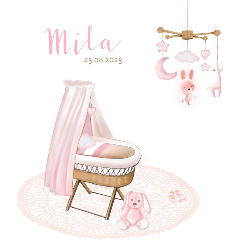 Geboortekaartjes - Geboorte wiegje riet