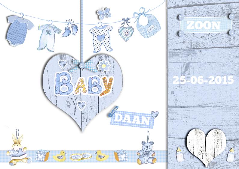 Geboortekaartjes - geboorte zoon met hart in hout