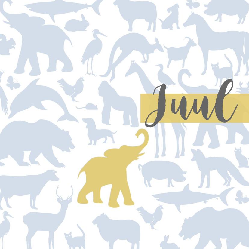Geboortekaartjes - Geboortekaart Animal tikje retro stoere kleuren