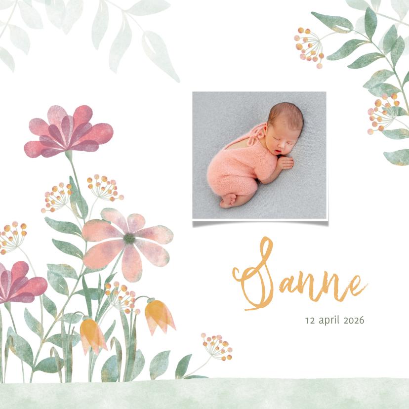 Geboortekaartjes - Geboortekaart aqarel bloemen roze-geel met foto