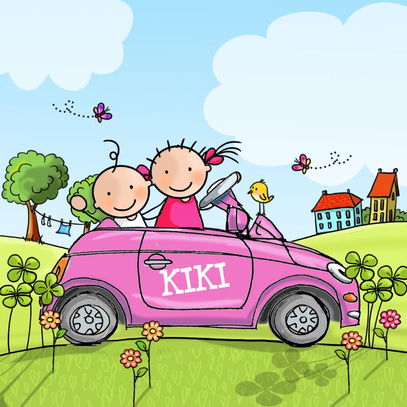 Geboortekaartjes - Geboortekaart auto met zus roze