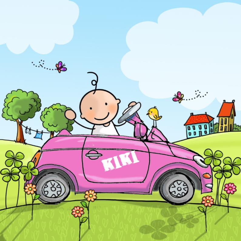 Geboortekaartjes - Geboortekaart auto roze