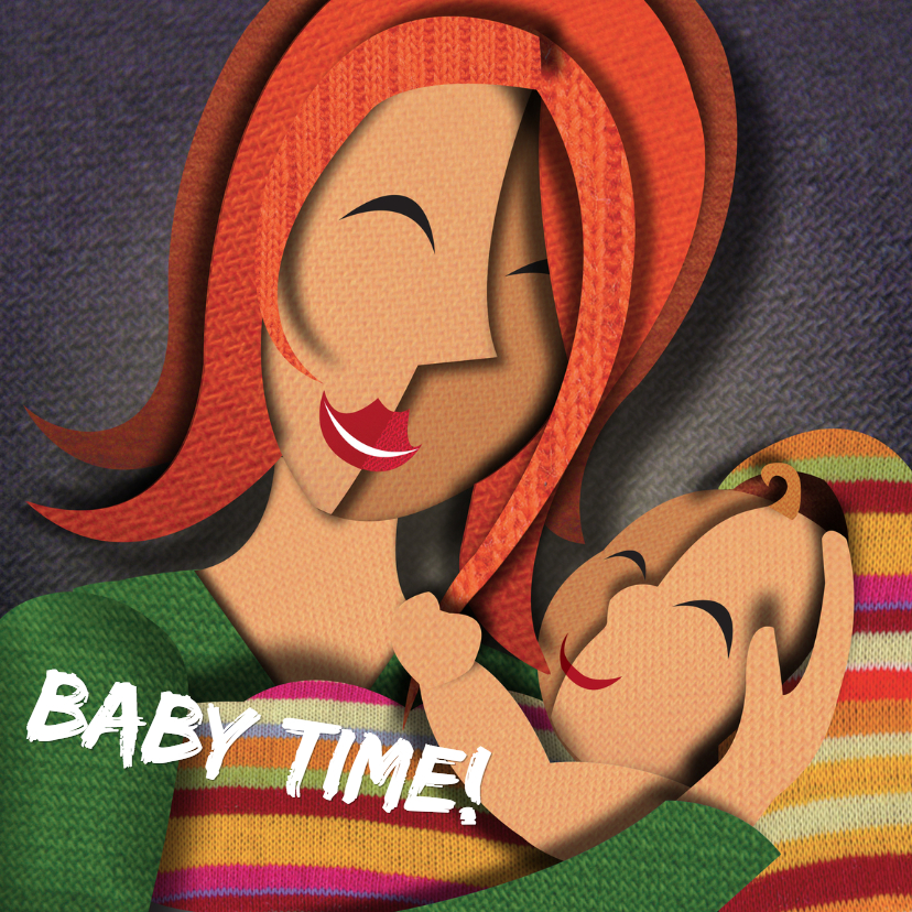 Geboortekaartjes - Geboortekaart - Baby en moeder