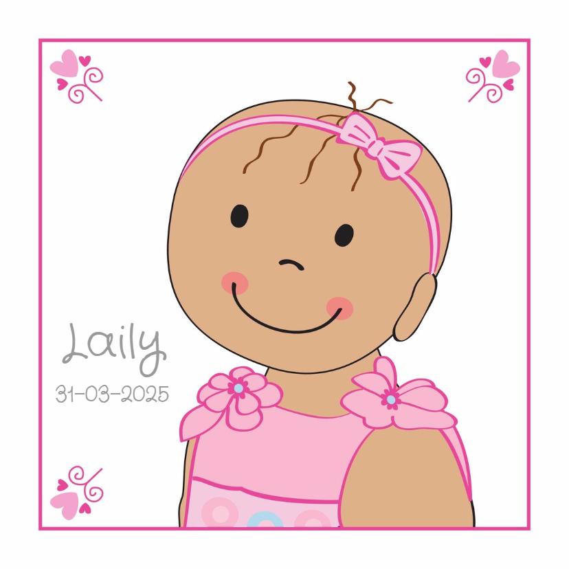 Geboortekaartjes - geboortekaart baby met haarband
