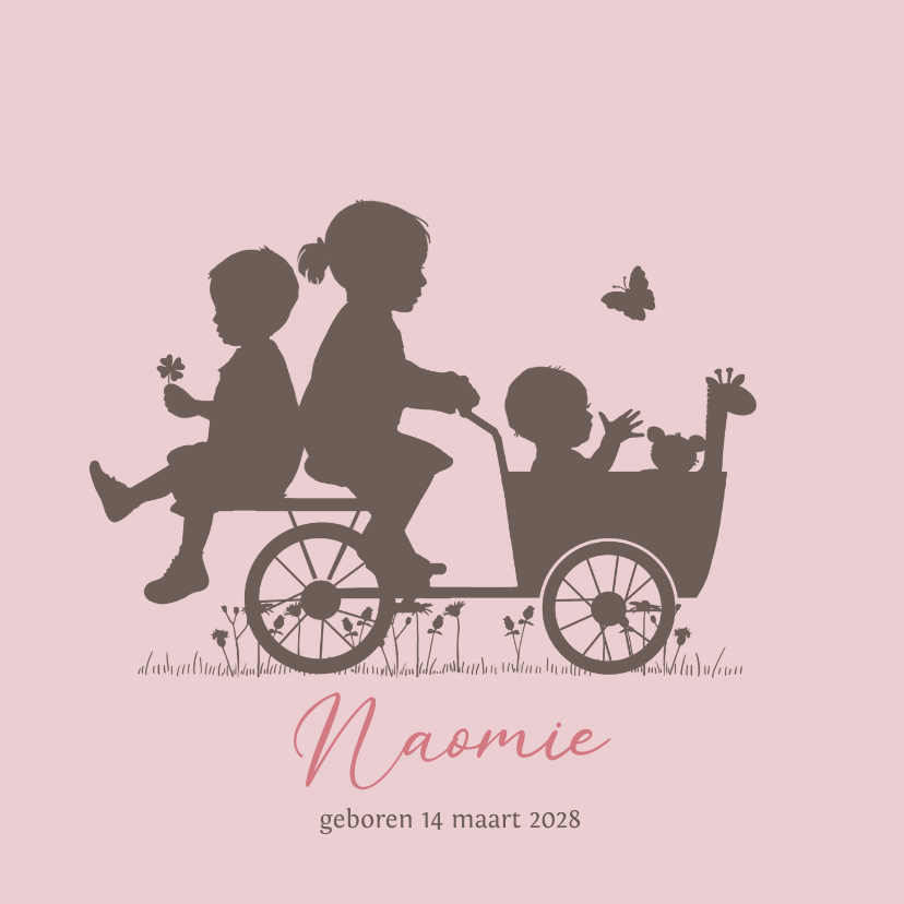 Geboortekaartjes - Geboortekaart bakfiets baby meisje met grote zus en broer