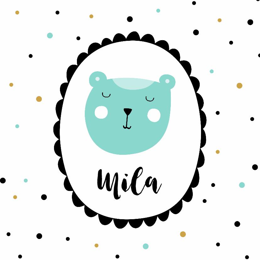Geboortekaartjes - Geboortekaart beer kader