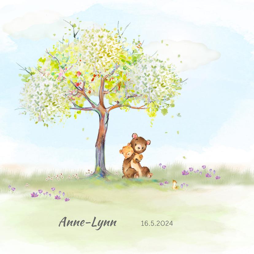 Geboortekaartjes - Geboortekaart beer onder boom in lentesfeer