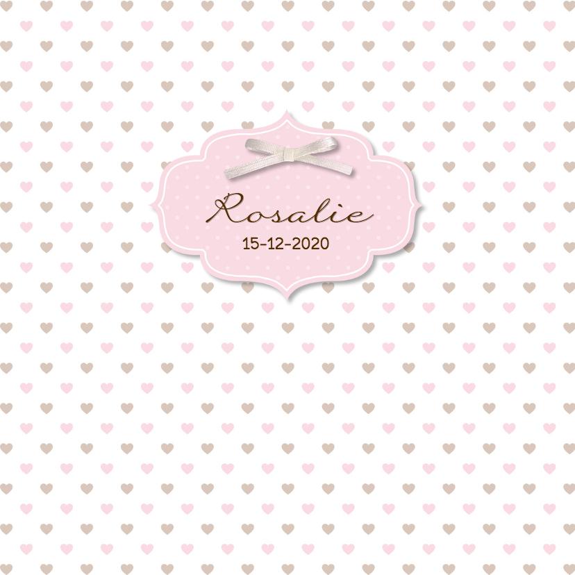 Geboortekaartjes - Geboortekaart beer roze-bruin