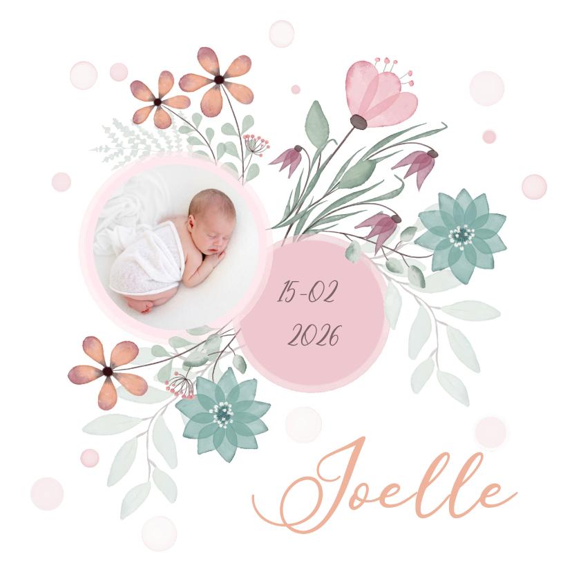 Geboortekaartjes - Geboortekaart bloemen en cirkel voor babyfoto