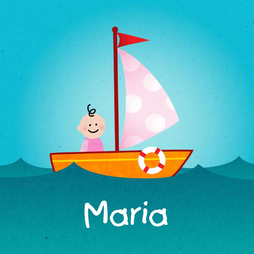 Geboortekaartjes - Geboortekaart boot meisje