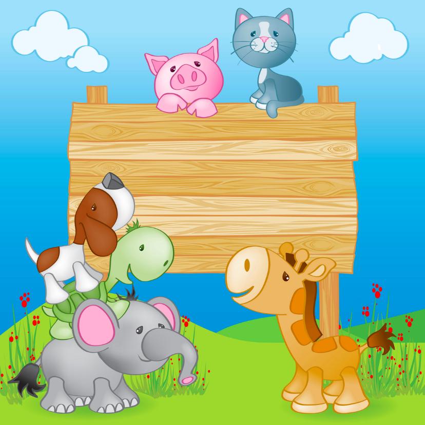 Geboortekaartjes - Geboortekaart dieren en Naambord