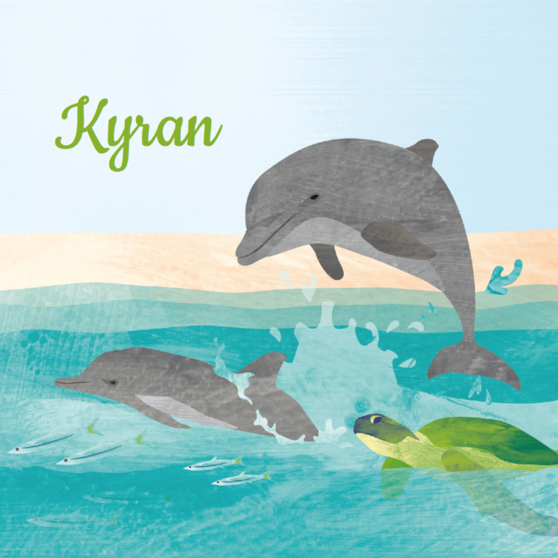 Geboortekaartjes - Geboortekaart dolfijn schildpad