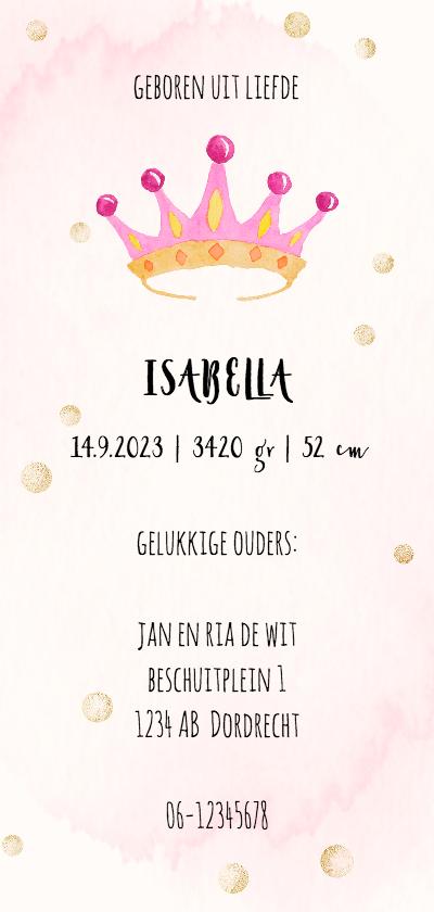 Geboortekaartjes - Geboortekaart-enkel kroontje roze