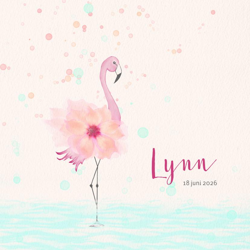 Geboortekaartjes - Geboortekaart flamingo met bloem-lijfje