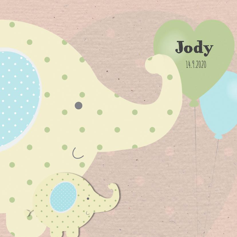 Geboortekaartjes - Geboortekaart gele olifant