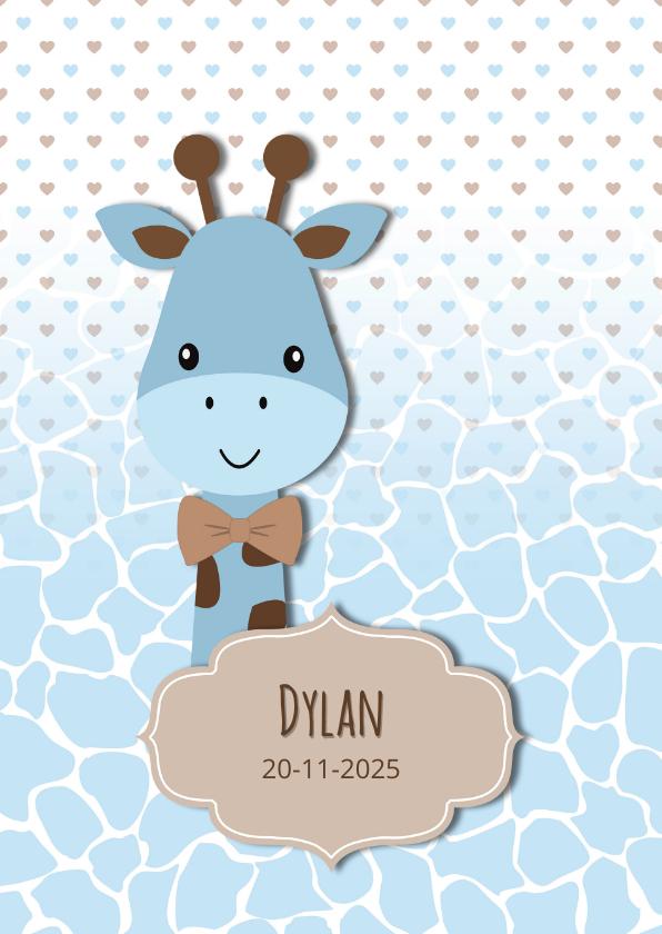 Geboortekaartjes - Geboortekaart giraf blauw-bruin