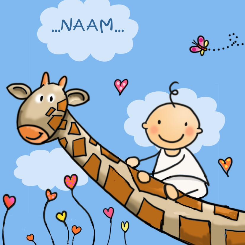 Geboortekaartjes - Geboortekaart Giraf en baby vierkant