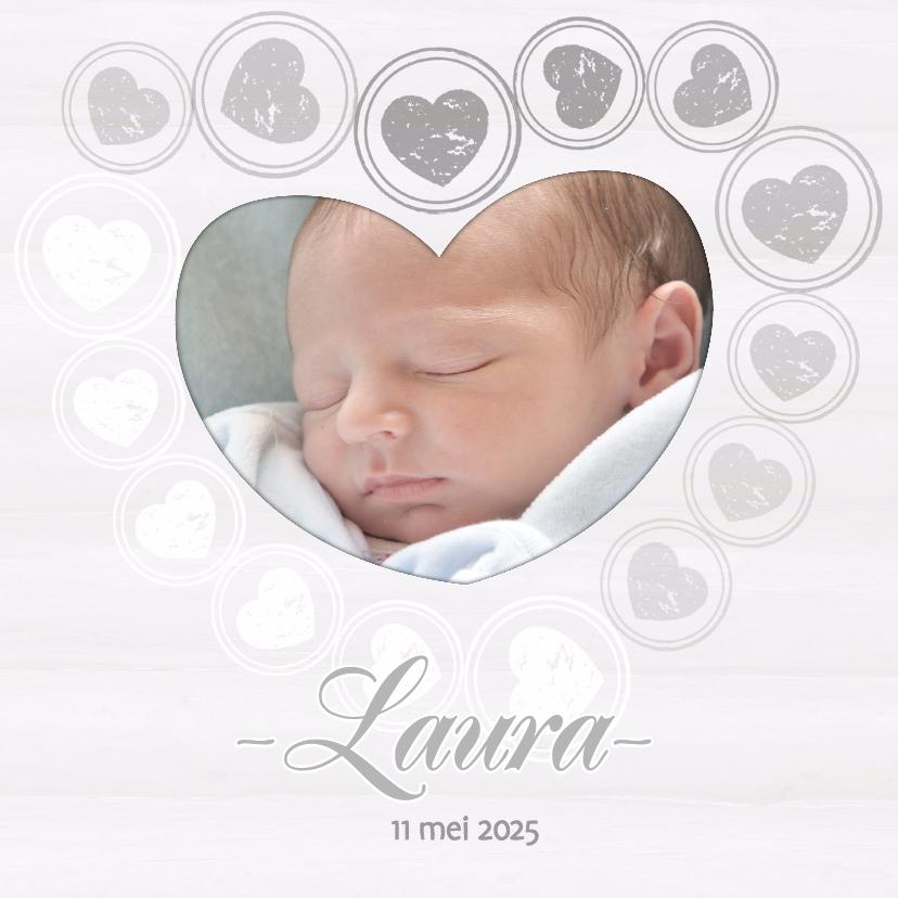 Geboortekaartjes - Geboortekaart hartjes - BK