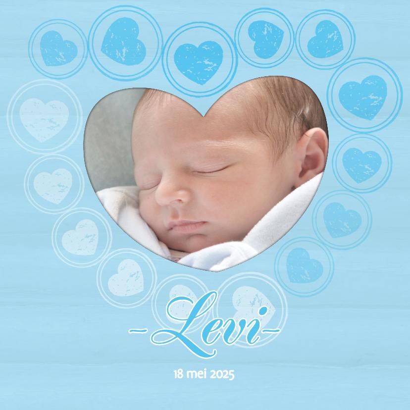 Geboortekaartjes - Geboortekaart hartjes blauw - BK