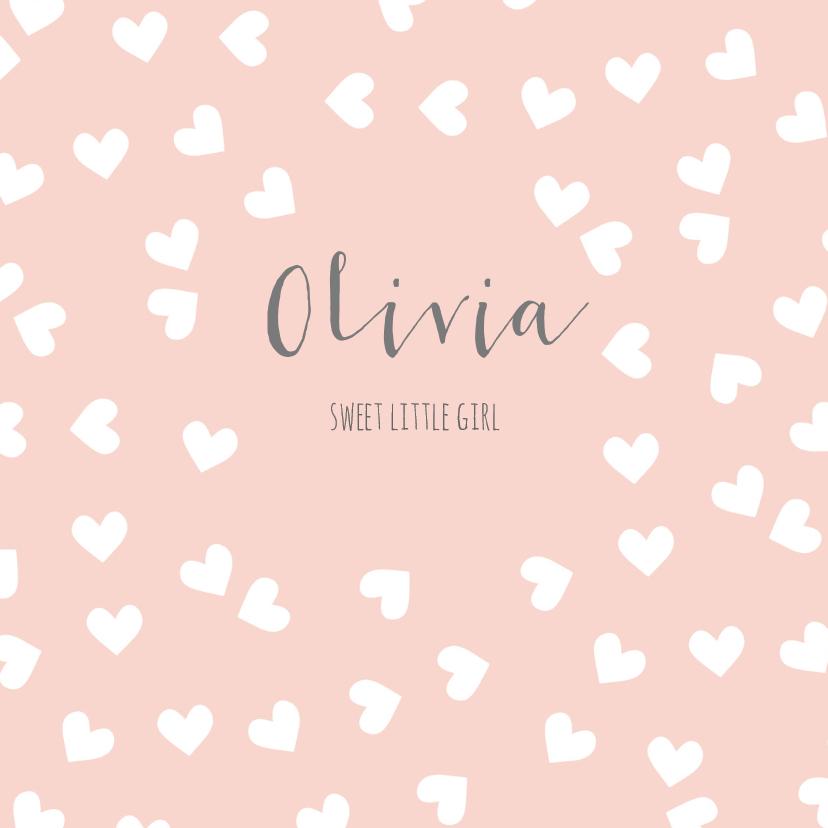 Geboortekaartjes - Geboortekaart hartjes roze - BC