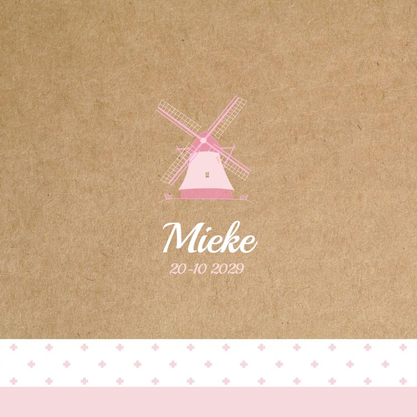 Geboortekaartjes - Geboortekaart Hollandse molen Mieke