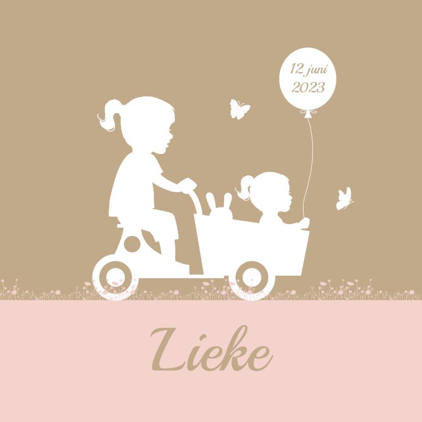 Geboortekaartjes - Geboortekaart houten bakfiets met zusjes ballon