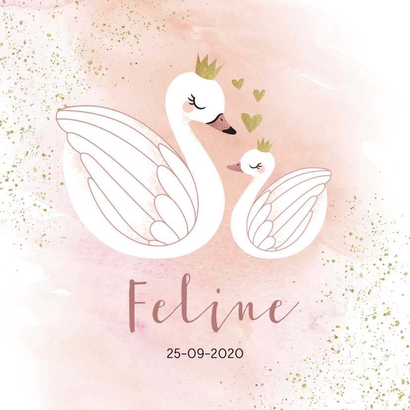 Geboortekaartjes - Geboortekaart illustratie zwaantjes waterverf meisje