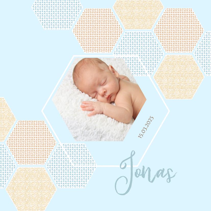 Geboortekaartjes - Geboortekaart jongen 6-hoekjes met confetti