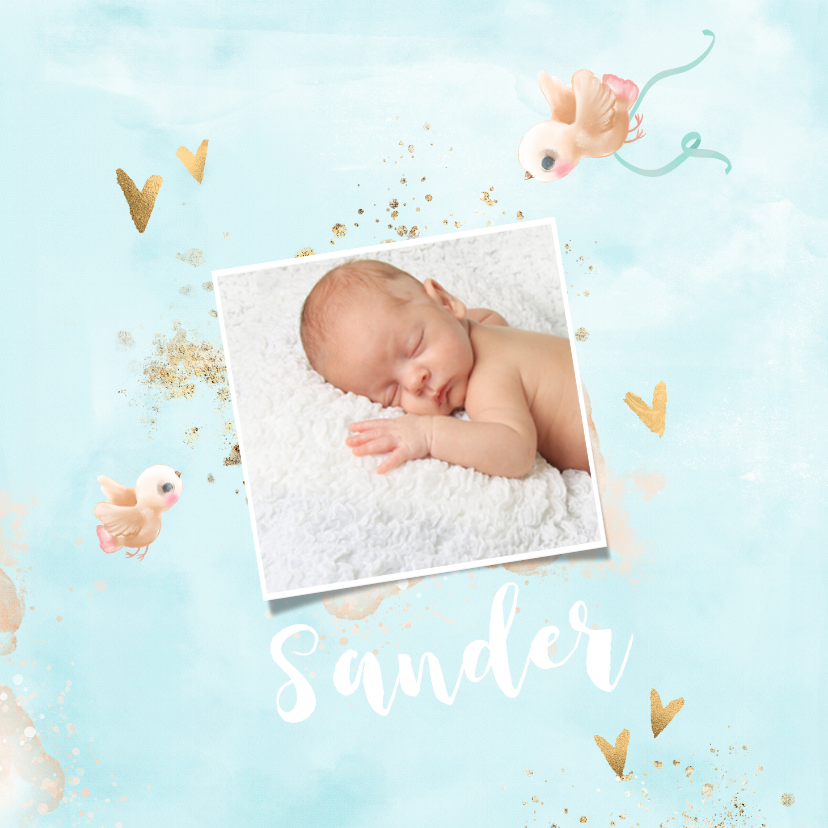 Geboortekaartjes - Geboortekaart jongen blauw met gouden hartjes