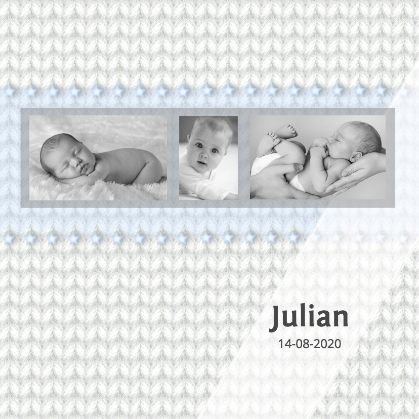 Geboortekaartjes - Geboortekaart jongen - breiwerk