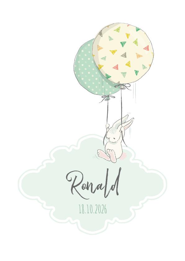 Geboortekaartjes - Geboortekaart jongen, konijn, ballonnen