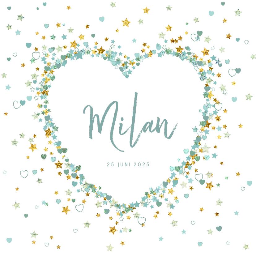 Geboortekaartjes - Geboortekaart jongen lief met hart van sterren en hartjes